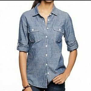 J Crew The Perfect Shirt Chambray Button Up M